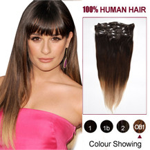 "16"" Three Colors #2 And #4 And #613 Ombre Indian Remy Clip In Hair Extensions"