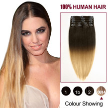 16 inches Two Colors #6 And #27 Straight Ombre Indian Remy Clip In Hair Extensions