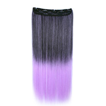 "24"" Ombre Colorful Clip in Hair Straight 2# Black/Lavender 1 Piece"