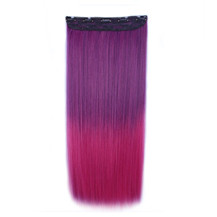 """24"""" Ombre Colorful Clip in Hair Straight 8# Purple/Rosy 1 Piece"""