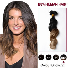 "16"" Two Colors #1 And #10 Wavy Ombre Indian Remy Clip In Hair Extensions"
