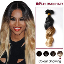 """24"""" Two Colors #1b And #27 Wavy Ombre Indian Remy Clip In Hair Extensions"""