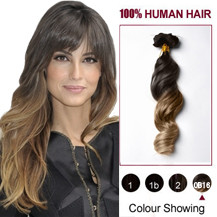 "18"" Two Colors #2 And #14 Wavy Ombre Indian Remy Clip In Hair Extensions"