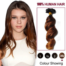 "20"" Three Colors #2 And #30 And #27 Wavy Ombre Indian Remy Clip In Hair Extensions"