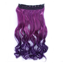 """24"""" Ombre Colorful Clip in Hair Wavy 29# Rosy/Dark-Purple 1 Piece"""