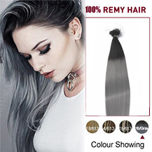 """24"""" Ombre(#1/Gray) Micro Loop Human Hair Extensions"""