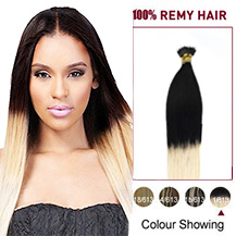 """22"""" Ombre #1/613 50s Nano Ring Human Hair Extensions"""