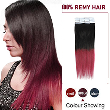 24 inches Ombre (#1B/Bug) Tape In Human Hair Extensions