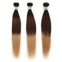 3 set bundle #1B/4/27 Ombre Straight Indian Remy Hair Wefts 24/26/28 Inches