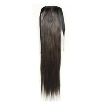22 Inches Human Hair Bundled Long Straight Ponytail Black 1 Piece