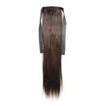 22 Inches Human Hair Bundled Long Straight Ponytail Chestnut Brown