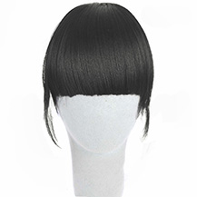 Neat Bang With Human Hair On The Temples Black 1 Piece