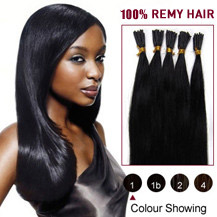 22 inches Jet Black (#1) 50S Stick Tip Human Hair Extensions