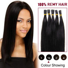 "26"" Natural Black (#1b) 100S Stick Tip Human Hair Extensions"