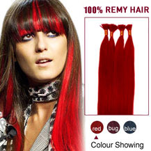 """22"""" Red 100S Stick Tip Human Hair Extensions"""
