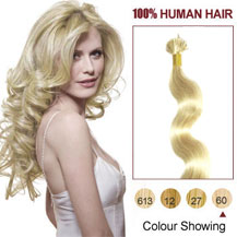 "22"" White Blonde (#60) 100S Wavy Stick Tip Human Hair Extensions"