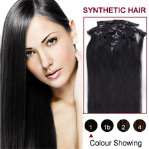 22 inches Jet Black (#1) 7pcs Clip In Synthetic Hair Extensions