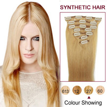 22 inches Strawberry Blonde (#27) 7pcs Clip In Synthetic Hair Extensions