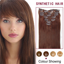 22 inches Dark Auburn (#33) 7pcs Clip In Synthetic Hair Extensions