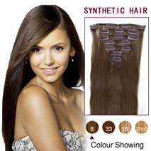 22 inches Ash Brown (#8) 7pcs Clip In Synthetic Hair Extensions