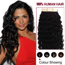 28 inches Jet Black (#1) 20pcs Curly Tape In Human Hair Extensions