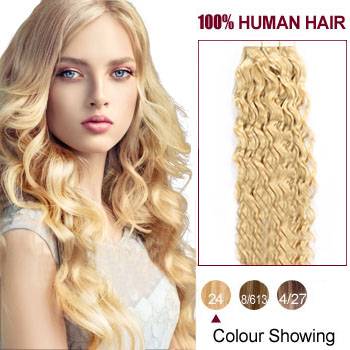 16 inches Ash Blonde (#24) 20pcs Curly Tape In Hair Extensions