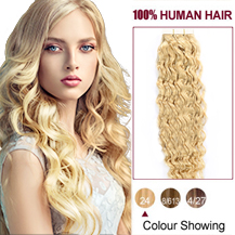 18 inches Ash Blonde (#24) 20pcs Curly Tape In Human Hair Extensions