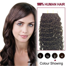 20 inches Dark Brown (#2) 20pcs Curly Tape In Human Hair Extensions
