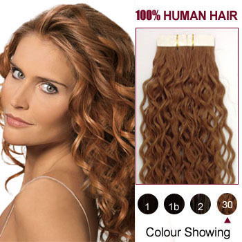 30 inches Light Auburn (#30) 20pcs Curly Tape In Human Hair Extensions