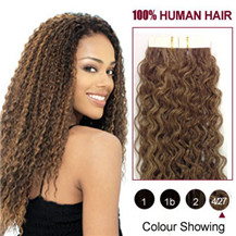 16 inches (#4/27) 20pcs Curly Tape In Human Hair Extensions