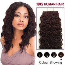 16 inches Medium Brown (#4) 20pcs Curly Tape In Human Hair Extensions