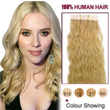 28 inches Bleach Blonde (#613) 20pcs Curly Tape In Human Hair Extensions