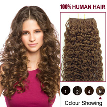 20 inches Light Brown (#6) 20pcs Curly Tape In Human Hair Extensions