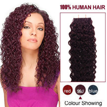 16 inches 99J 20pcs Curly Tape In Human Hair Extensions