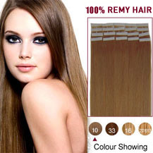 18 inches Light Brown (#10) 20pcs Tape In Human Hair Extensions