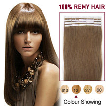 20 inches Golden Brown (#12) 20pcs Tape In Human Hair Extensions