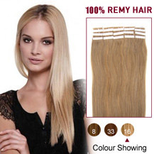20 inches Golden Blonde (#16) 20pcs Tape In Human Hair Extensions
