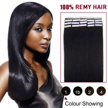"22"" Jet Black (#1) 20pcs Tape In Human Hair Extensions"