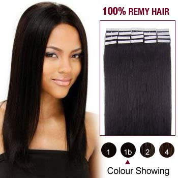 24 inches Natural Black (#1b) 20pcs Tape In Human Hair Extensions