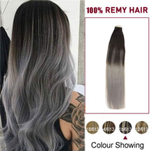 "18"" Ombre (#1B/Grey) Tape In Human Hair Extensions"