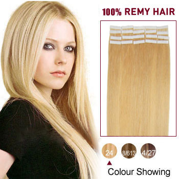 18 inches Ash Blonde (#24) 20pcs Tape In Human Hair Extensions