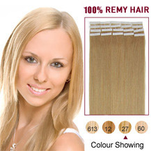 28 inches Strawberry Blonde (#27) 20pcs Tape In Human Hair Extensions