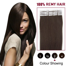 "20"" Dark Brown (#2) 20pcs Tape In Human Hair Extensions"