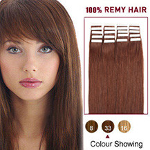 18 inches Dark Auburn (#33) 20pcs Tape In Human Hair Extensions