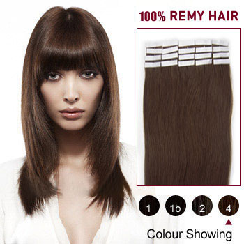 24 inches Medium Brown (#4) 20pcs Tape In Human Hair Extensions