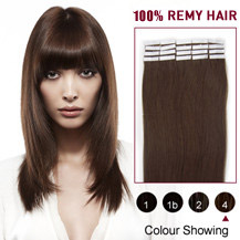 16 inches Medium Brown (#4) 20pcs Tape In Human Hair Extensions