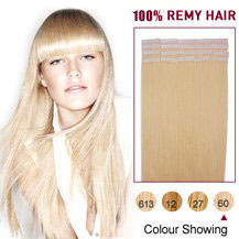 "20"" White Blonde (#60) 20pcs Tape In Human Hair Extensions"