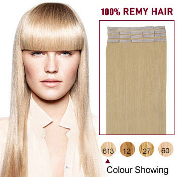 20 inches Bleach Blonde (#613) 20pcs Tape In Human Hair Extensions