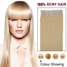 "22"" Bleach Blonde (#613) 20pcs Tape In Human Hair Extensions"
