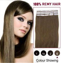 20 inches Light Brown (#6) 20pcs Tape In Human Hair Extensions